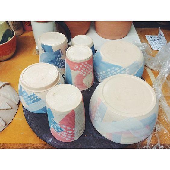 Ceramics process shots from @20x200 artist @youngnapark: underglazing / ongoing experimentation