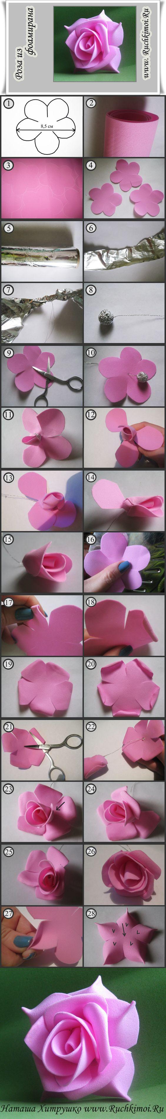 Роза из фоамирана своими руками. Подробный МК здесь http://www.ruchkimoi.ru/roza-iz-foamirana-svoimi-rukami-vtoroy-variant/: