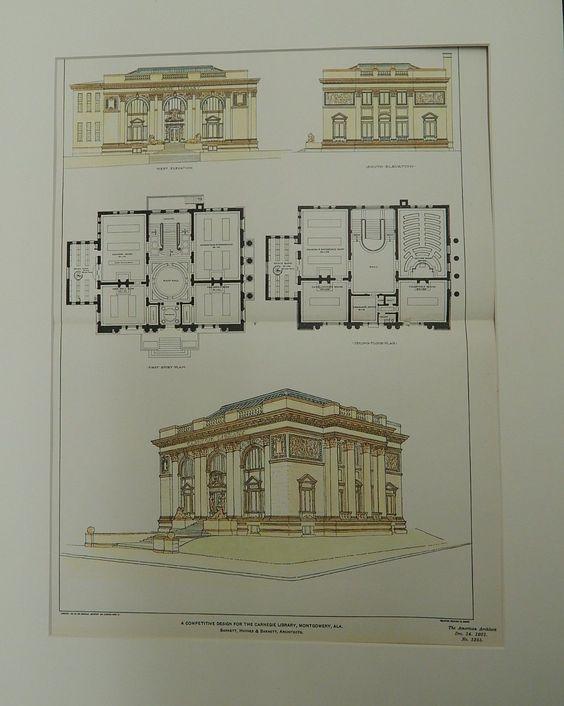 Competitive Design for the Carnegie Library, Montgomery, AL, 1901. Original Plan. Barnett, Haynes, & Barnett.