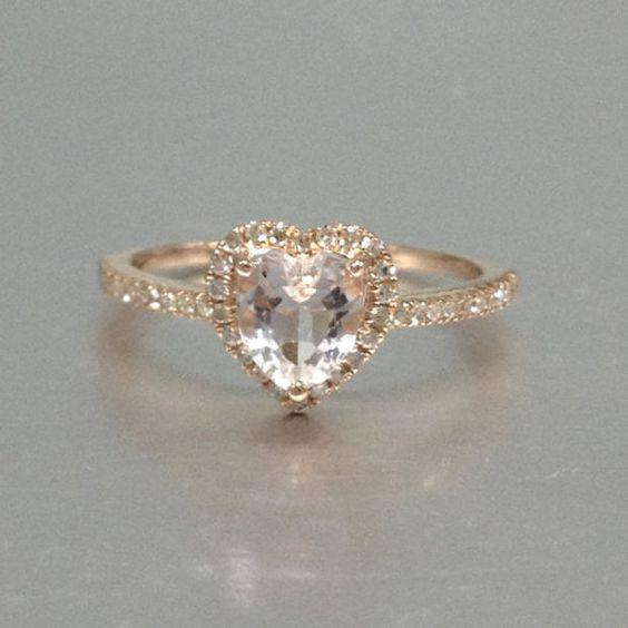 6mm Morganite Engagement ring Rose gold,Diamond wedding band,14k,Heart Shaped Cut,Gemstone Promise Bridal Ring,Prongs,Pave Set,Handmade