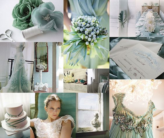 My wedding colors!! A jade green and ice blue....now to find the right color of bridesmaid dresses?