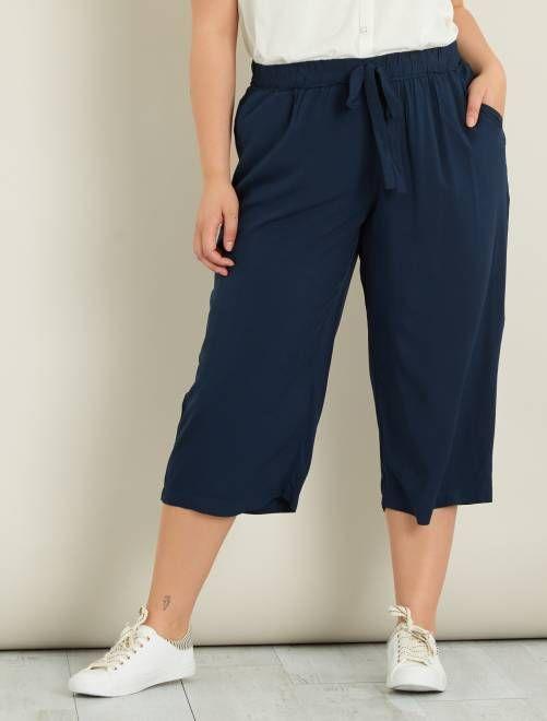 Jupe culotte en viscose plumetis bleu marine Grande taille femme