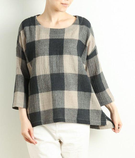 [Backordered] wool gauze block check blouse (Natural)