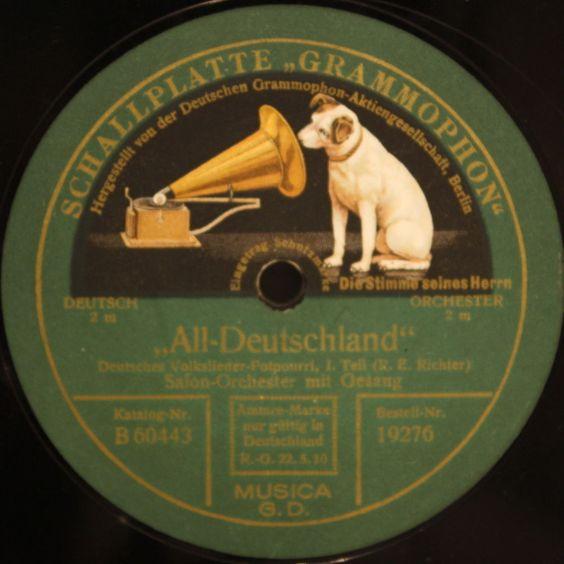 SALON-ORCHESTER MIT GESANG  All-Deutschland  Grammophon 78rpm 12