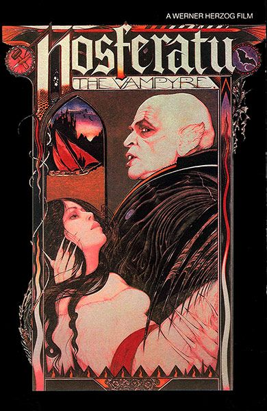 Dracula film posters:    In 1979 the Dracula canon came full circle. Auteur director Werner Herzog remade FW Murnau's classic as Nosferatu the Vampyre, starring Klaus Kinski.