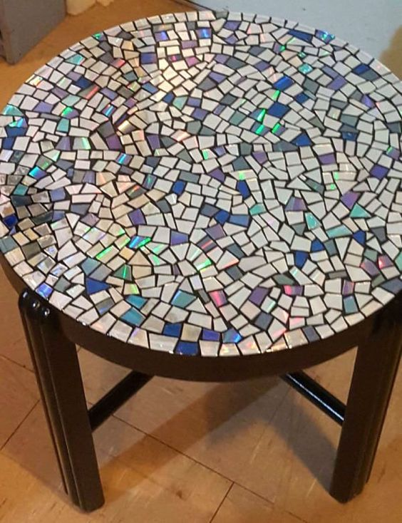 forgotten cds become a beautiful mosaic table more cds furniture