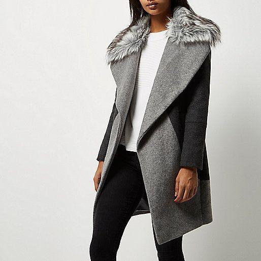 Manteau gris avec col en fausse fourrure - Manteaux - Manteaux/vestes - Femme