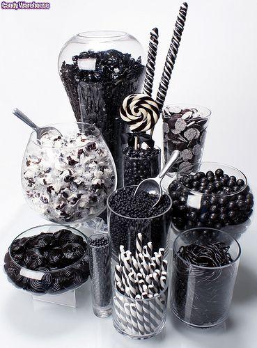 Black n white candy dessert table idea