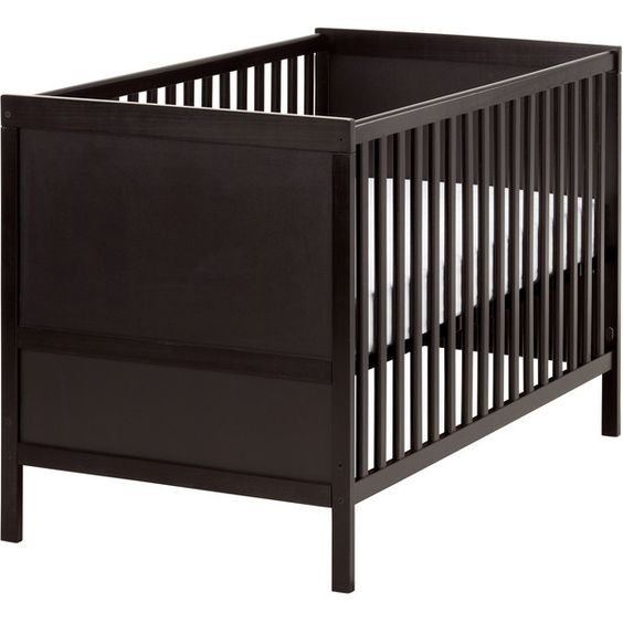 IKEA SUNDVIK Crib, black-brown ($119) ❤ liked on Polyvore featuring home, children's room, children's furniture, nursery furniture, crib, baby, furniture, ikea and beds