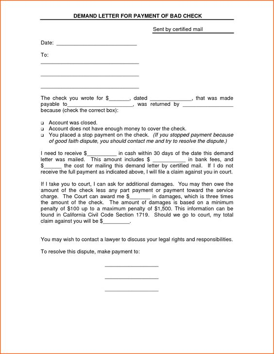 Demand Letter For Payment Of Bad Check Sent By Certified By