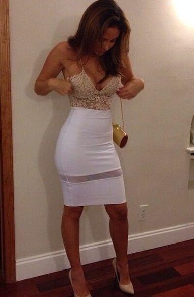 outfits blanco falda con top