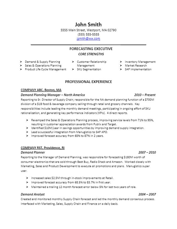 Demand Planner Resume Sample Resume Ideas