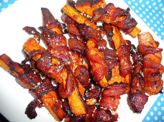 bacon wrapped sweet potato wedges!!! like candy!