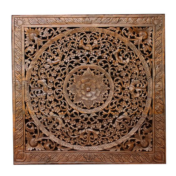 Balinese carved wood wall art sculpture panel lotus