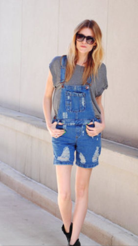 Overalls + gray slouchy tee