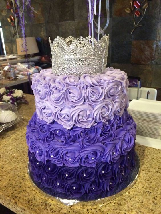 Purple ombre rosette cake with silver lace crown