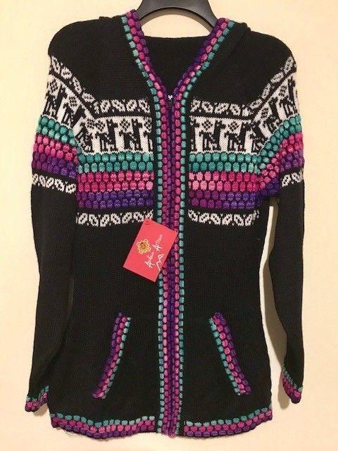 Hooded Llamas Sweater Jacket Hoodie Alpaca Wool Cardigan