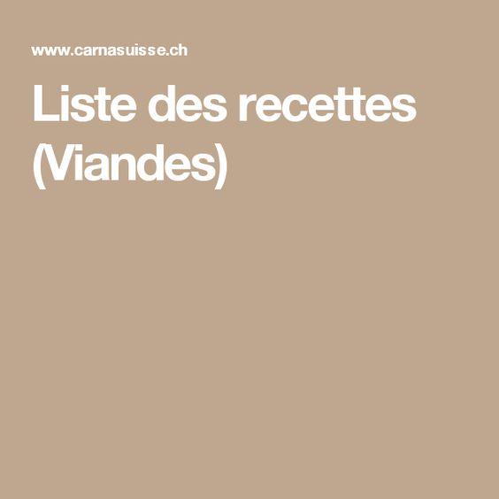 Liste des recettes (Viandes)