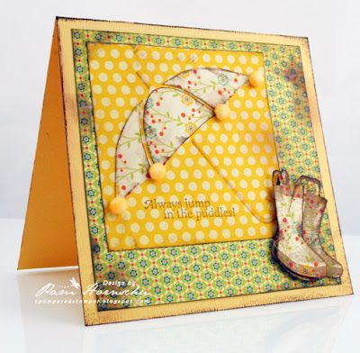 April Showers card by Pam Hornschu for Gourmet Rubber Stamps.