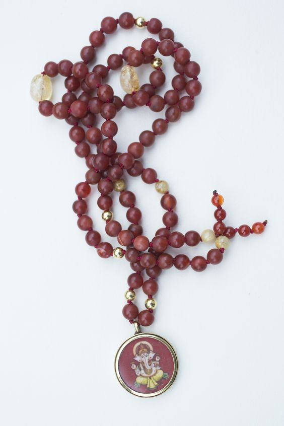 Ganesha Journey Mala By Sharanam Mala Amulet By Blessed By Amma Karneol Citrin Gilded Beads Bringing Energy To Remove Recognizing Obstacles Karneol