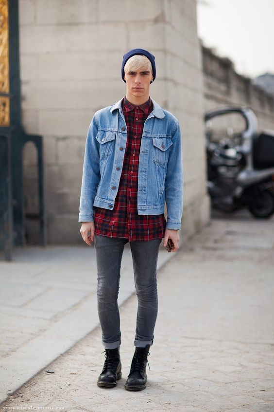 Denim jacket with plaid shirt – Modern fashion jacket photo blog