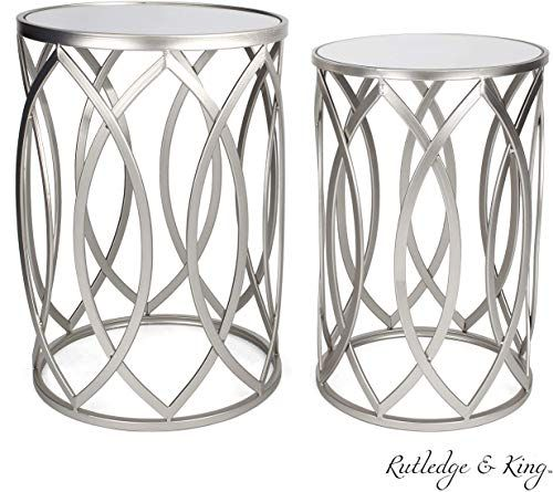New Round End Table Set Silver End Tables Mirrored Tops