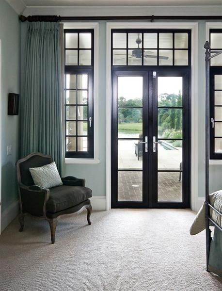 25 great window covering ideas french doors window and black trim - Simply amazing black and white curtains to decorate your home interior ...