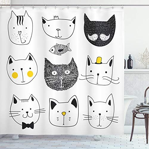 Ambesonne Decor Collection Cortina De Ducha De Poliester Ambesonne In 2020 Cat Shower Curtain Kid Bathroom Decor Extra Long Shower Curtain