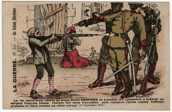 La Guerre n° 55. Un enfant héroïque. « La vie sauve étant offerte au jeune Emile Desprez, de Lourches, s'il consentait à achever un sergent français blessé, l'enfant fait mine d'accepter mais retourne son arme contre l'officier prussien et l'abat (17 septembre 1914.) », par A. de Caunes. Éditée par A.-F. Laclau. Cote 9 Fi 6279.  Emile Desprès est l'un des enfants-héros les plus fréquemment cités dans la littérature de jeunesse pendant la guerre. Cet employé d'une mine âgé de 13 ou 14 ans…