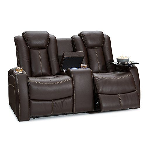 Seatcraft Republic Leather Home Theater Power Recline Loveseat With Center Storage Console Brown Power Reclining Loveseat Home Theater Seating Theater Seating
