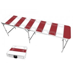 Red & White Football Field 8 Foot Portable Folding Tailgate Beer Pong Table from TailgateGiant.com