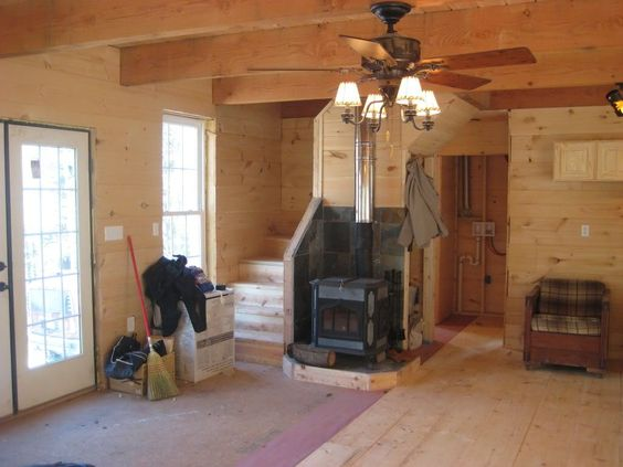 Wood stoves fire places and floor plans on pinterest for 20 x 40 cabin
