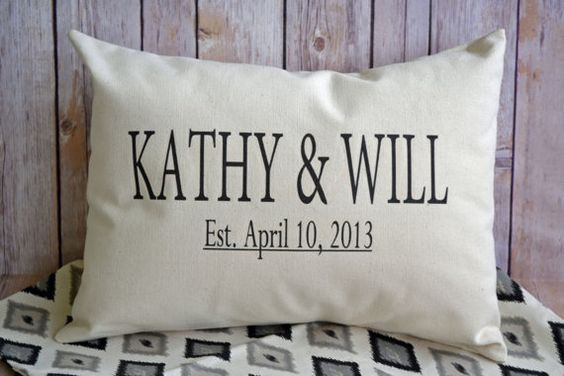 Cotton anniversary Personalized couples pillow by FeatherHen