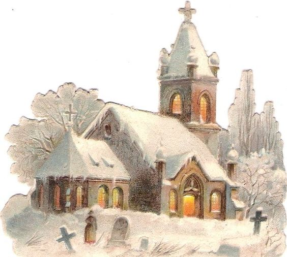Oblaten Glanzbild scrap die cut Kirche Winter church Schnee MICA: