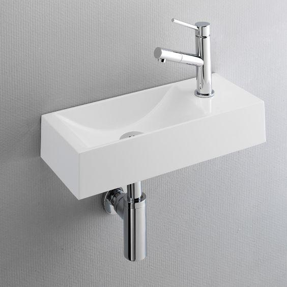 Lave-mains design très plat 45x19 cm en résine, robinet à droite