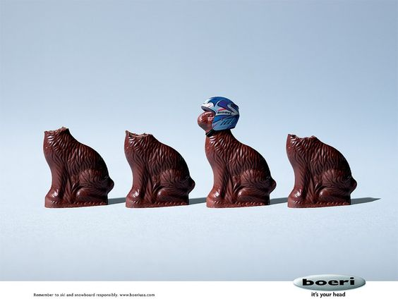 the print ad titled chocolate bunnies was done by mullen boston advertising agency for product sports helmets brand boeri in united states advertising agency office szukaj