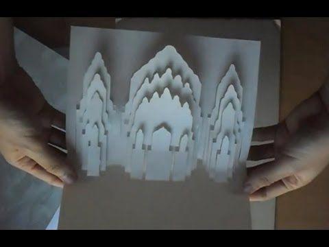 Kirigami Arts Pop Up Alhambra Court Of Lions Spain Card Tutor Card Tutorial Paper Flower Ball Paper Art Tutorial