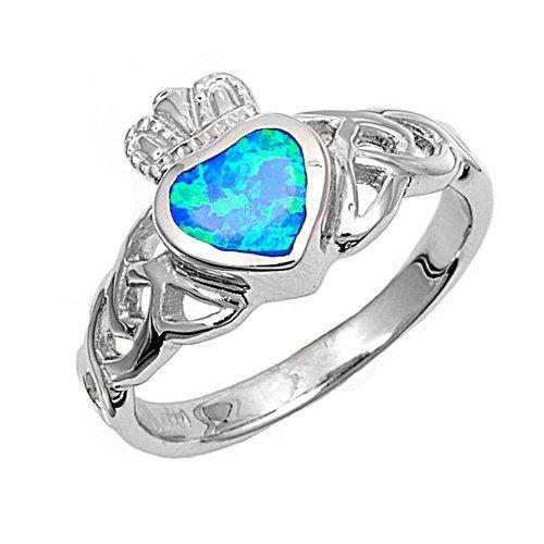 Silver Lab Opal Ring - Claddagh - Size 8 RO150077-0004 Kailees Jewelry Box http://www.amazon.com/dp/B00ZPXIWTS/ref=cm_sw_r_pi_dp_AA5rwb0JM9TJ3