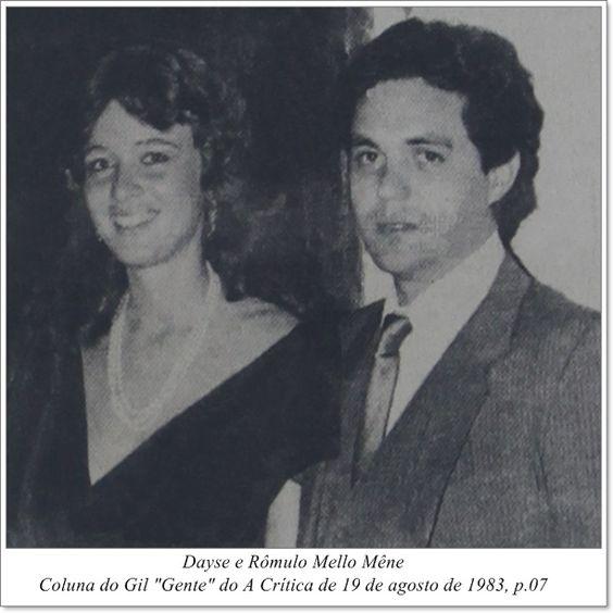 """Dayse e Rômulo Mello Mêne. Coluna do Gil """"Gente"""" do A Crítica de 19 de agosto de 1983."""