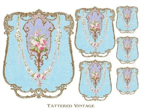Aqua Chic Emblem Digital Download no.308 Jar Label Decals Antique Wallpaper Collage Sheet Tattered Vintage 308