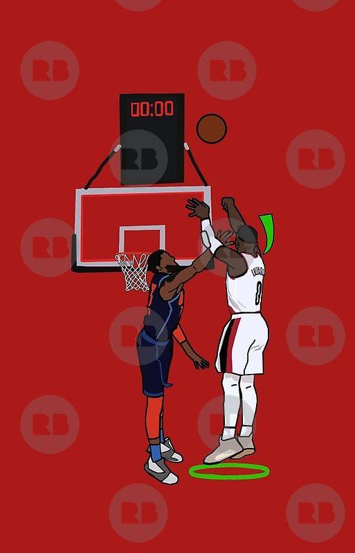 Dame Hits A Limitless Greenie Iphone Case By Xavierjfong Basketball Art Nba Basketball Art Nba Wallpapers