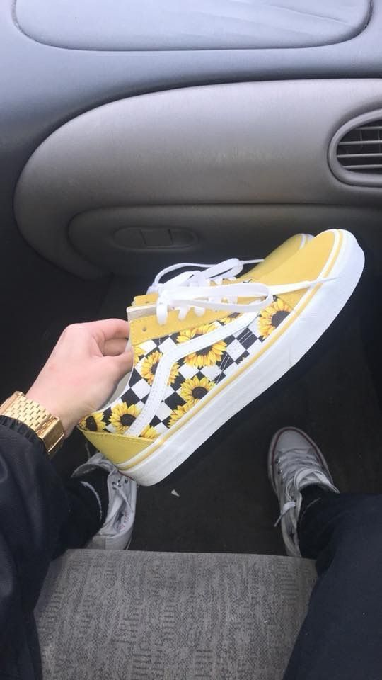 Yellow sunflower Vans   Shoes, Sneakers