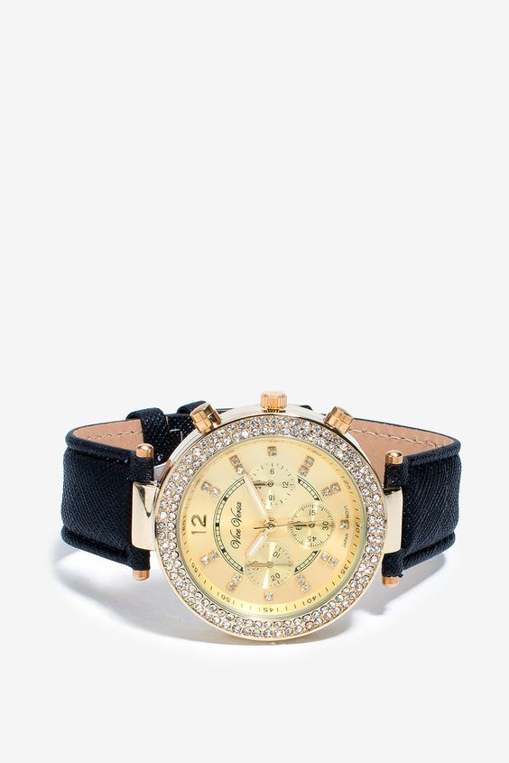 Courtney Rhinestone Faux Leather Watch