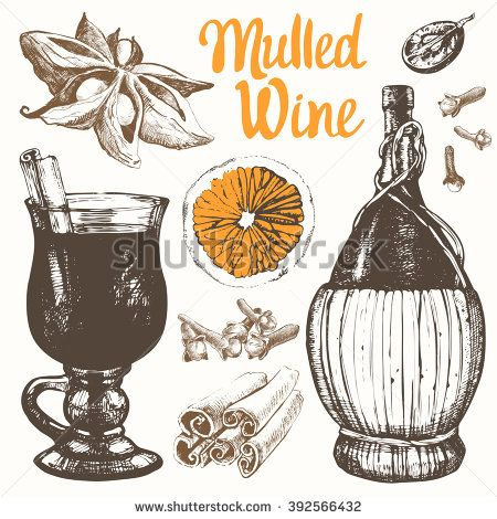 Mulled wine set in sketch style. Classical winter drink. Vector illustration with mulled wine, old wine bottle, grape, cinnamon, orange. - stock vector: