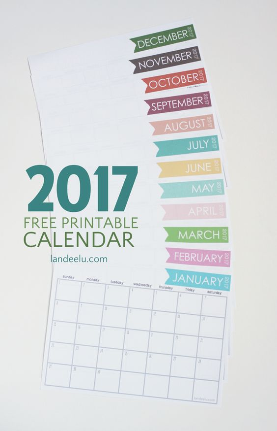 Ink Friendly FREE PRINTABLE 2017 Calendar via Landeelu - Download this free printable monthly calendar and get organized for the entire year of 2017!