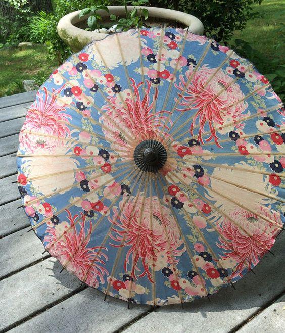 Antique Japanese Umbrella Made in Japan Bold Mums by vintagemb60