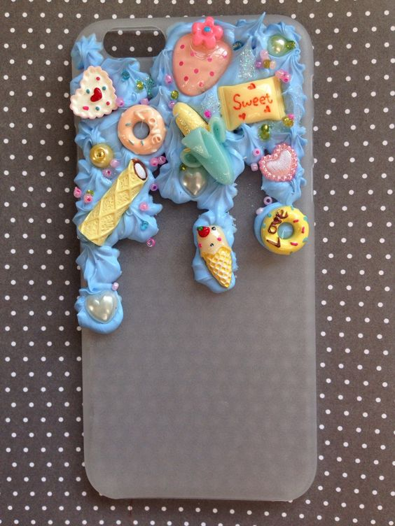 Iphone 6 dripping case with screen protector by Littleowll on Etsy