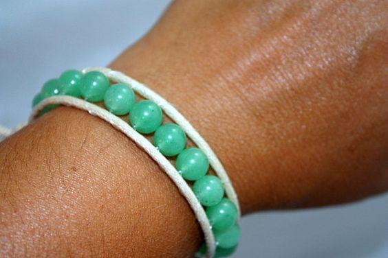 Mint green wrap bracelet natural cotton cording by mvtreasures, $10.00