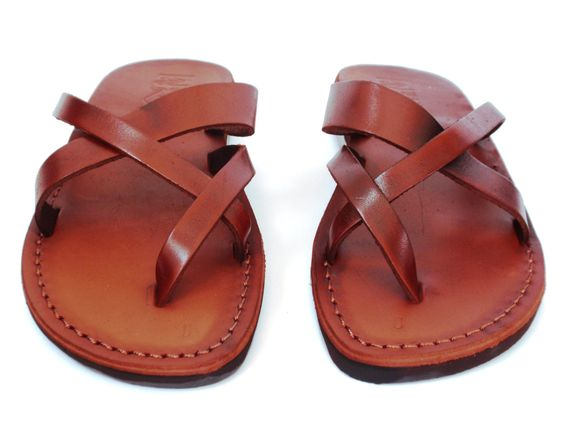 Brown Leather Sandals - X - Straps style - NEW ARRIVAL by Sandalimshop on Etsy