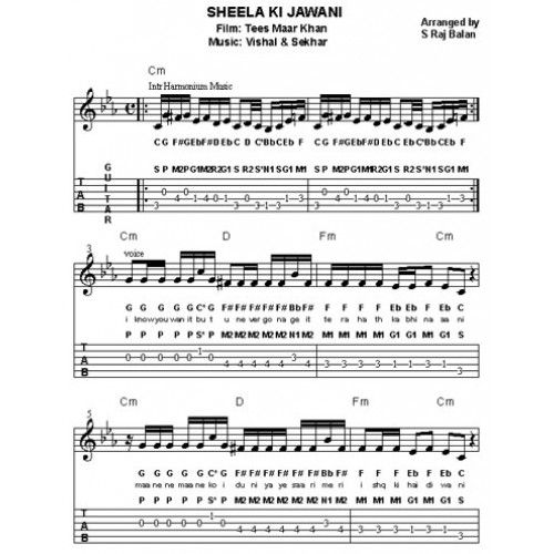 Guitar guitar chords bollywood songs : Hindi Songs Sheet Music For Piano Free - selected hindi songs with ...